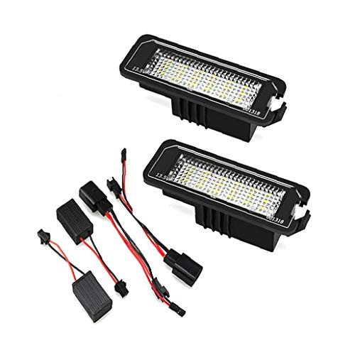 Licencia LED placa Número Light luz de la placa con 2 Decodificadores de repuesto para Golf 4 5 6 Polo Phaeton 1 Pair, luz de la matrícula
