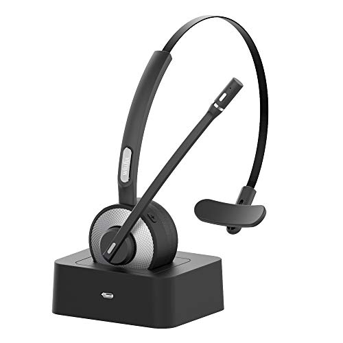 Willful M98 Bluetooth Headset Wireless Headset with Microphone Charging Base Pro Clear Sound for Car Truck Driver Call Center Home Office PC