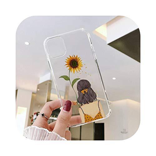 Sunflower Girl - Funda transparente para iPhone 11 12 mini Pro XS MAX 8 7 6 6S Plus X 5S SE 2020 XR-a2-7plus u 8plus