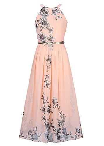 Ruiyige Women's Sleeveless Halter Neck Vintage Floral Print Maxi Dress Pink M