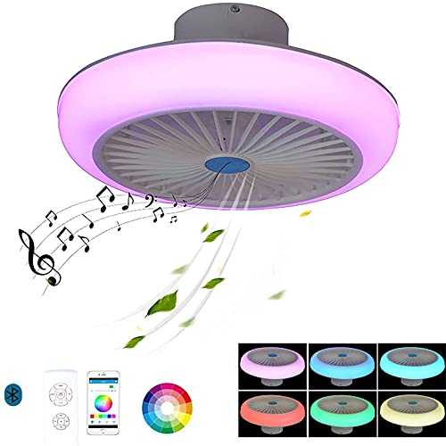 VOMI Ventilador de techo con iluminación, LED Lámpara de techo Fan Con Control remoto y Altavoz Bluetooth, Silencioso Regulable RGB Alexa Inteligente APP Lámpara de techo Music Para Salon Dormitorio