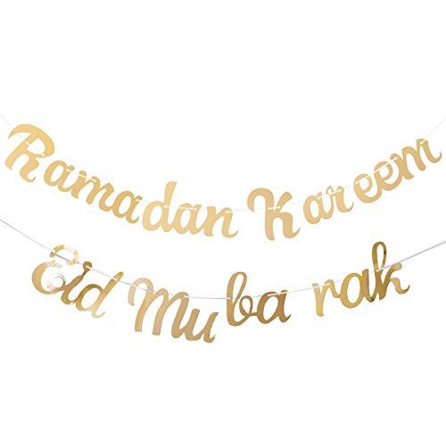 Glitter Banner EID MUBARAK Ramadan Muslim Islamic Letters Decoration Hanging DIY