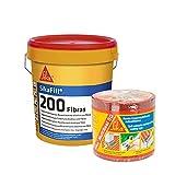 Kit de cubierta : 1 Banda autoadhesiva Sika Multiseal SG, Rojo, 15cm x 12ml y + 1 Pintura elástica con fibras para impermeabilización Sikafill 200 Fibras, Rojo teja, 20kg