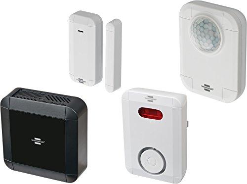 Brennenstuhl BrematicPRO Starter Set Sicherheit (Smart Home Set: Smart Home Zentrale, 1x Funk Tür-/Fensterkontakt, 1x Funk-Bewegungsmelder, 1x Funk-Sirene)