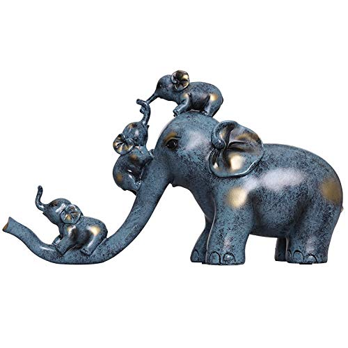 ZSQZJJ Modernos Estatuas Figuritas Adornos de Interior Estatuas Decorativas,Familia Elefante Escultura Animales Elefante estatuilla Resina artesanía decoración hogar Boda Regalo
