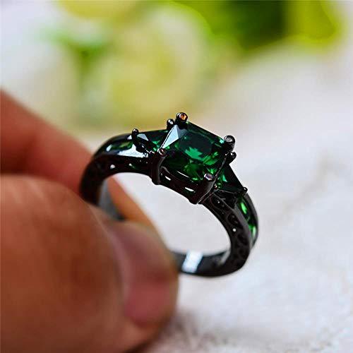 Vintage Grün Stein Ring Weibliche und Männliche Schwarz Gold Hochzeit Ringe Für Männer Frauen Mode Liebe Verlobungsring, 8