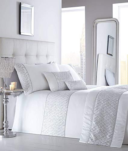 Portfolio Shimmer Bed Duvet Cover and Pillowcases Set, Polyester, White, Double