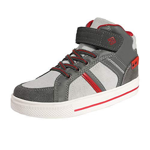 DREAM PAIRS Boys High Top Sneaker Skateboarding Shoes 151014_H Grey Red Size 12 M US Little Kid