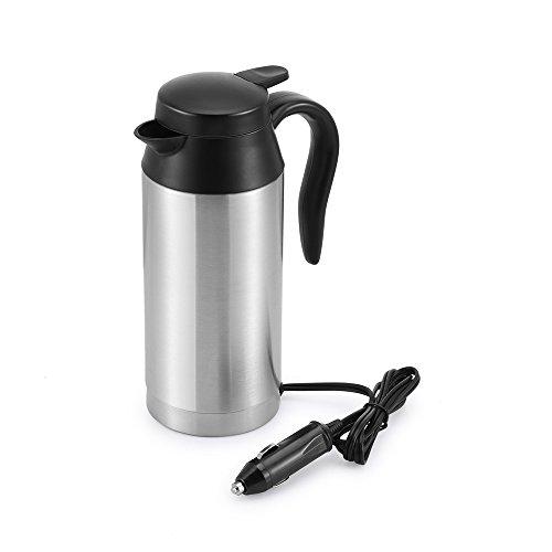 ONEVER Reisewasserkocher, 750 ml 12 V tragbarer Edelstahl-Auto-Wasserkocher mit versiegeltem Gummiband Auto-Heizbecher für Heißwasser, Kaffee, Tee