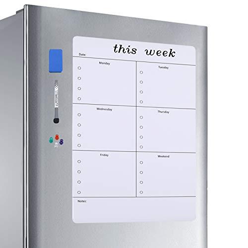 Aelfox 17 x 12 Inch Weekly Dry Erase Board for Refrigerator, Magnetic Fridge Whiteboard Reminder Board with Dry Erase Marker & Eraser, 4 fridge Magnets(Vertical)