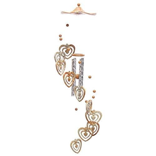 Carillon - Avec 4 tubes et des cœurs concentriques - Décoration/cadeau pour cour, jardin, extérieur, maison