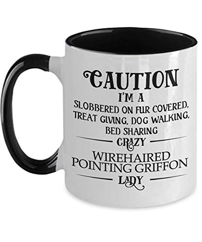 Taza té cerámica uso prolongado Precaución Soy un grifo loco de pelo duro y loco Lady Two Tone A Dog Mommy Mor Grma Perros perfectos Taza bebida café Regalo