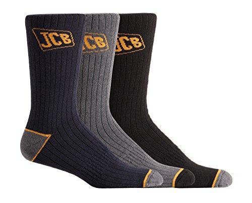 3Paar Herren Socken JCB Outdoor Activity–aus Offizielle JCB–farblich sortiert–UK Größe 9–12