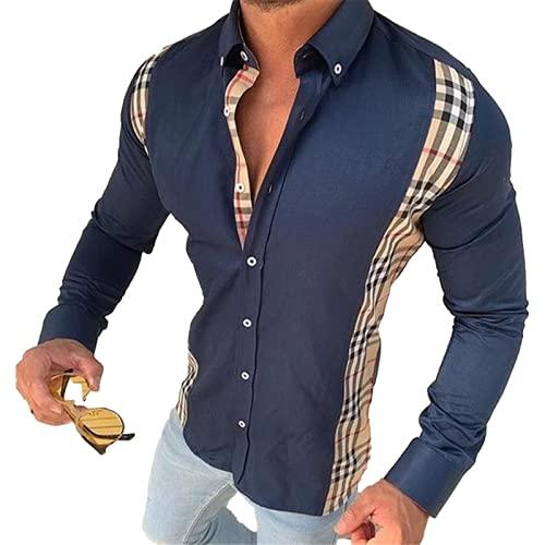 Camisa de Manga Larga con Solapa para Hombre Costura de impresión Tendencia Bloqueo de Color Casual Ropa de Calle al Aire Libre Camisas abotonadas M