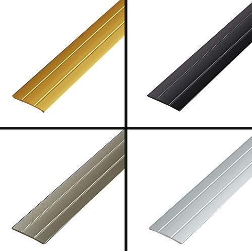 Übergangsleiste | Übergangsprofil | Übergangsschiene flach | Ausgleichsprofil | Aluminium Abdeckleiste | Bodenschiene | Farbe: Silber | Länge 900mm | 37mm Breit | Selbstklebend