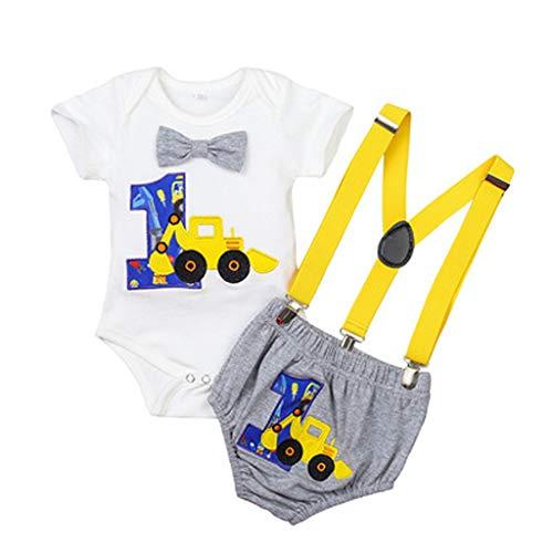 sunnymi Baby Sommer Kleidungsset,0-24 Monate Toddler Baby Jungen Gentleman Einjähriger Geburtstag Strampler Träger Shorts Outfits