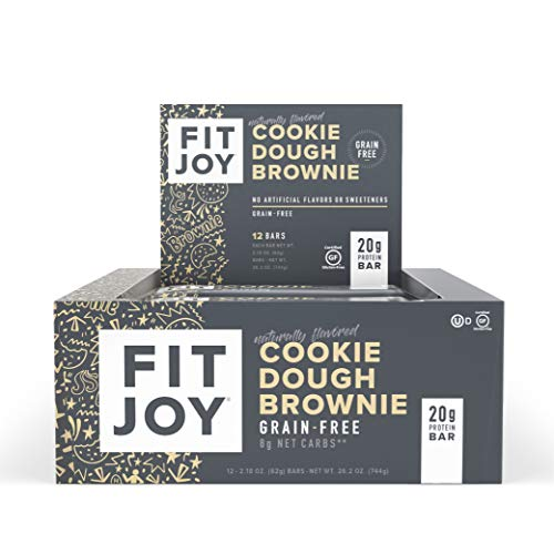 FitJoy Protein Bars, Gluten Free, Grain Free, High Protein Snacks - Low Sugar, Low Carb, 20g Protein Bar – Cookie Dough Brownie, 12 Pack of 2.11 oz. Bars (Packaging May Vary)