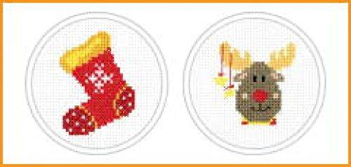 Stitch Garden Mini Cross Stitch Kits Xmas Voorraad & Rendier - per pak van 2
