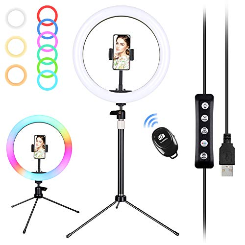 """Nuevo, Zacro 10"""" Luz de Anillo LED, Aro de Luz con Trípode, Soporte de Luz, 6 Colores 9 Brillos Regulables Control Remoto, para Maquillaje, Youtube, Selfie, Transmisión en Vivo,Tiktok"""