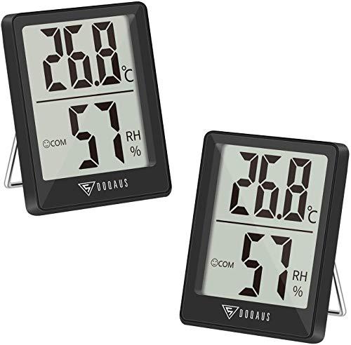 DOQAUS Thermo-Hygrometer, 2 Stück Thermometer Innen Hygrometer Feuchtigkeit Digital Raumthermometer Luftfeuchtigkeitsmessgerät innen mit Hohen Genauigkeit, für Innenraum, Babyraum, Wohnzimmer, Büro