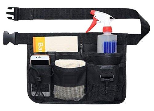 NYSh エプロンバッグ 仕事用 小物入れ 腰袋 作業用 ポケット 工具袋 ウエストポーチ (ブラック)
