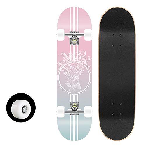 Skateboard Komplett Board 80x20cm mit 7-lagigem Ahornholz und ABEC-11 Kugellager 95A Rollenhärte 31 x 8 Zoll, für Kinder, Jugendliche und Erwachsene-HB1