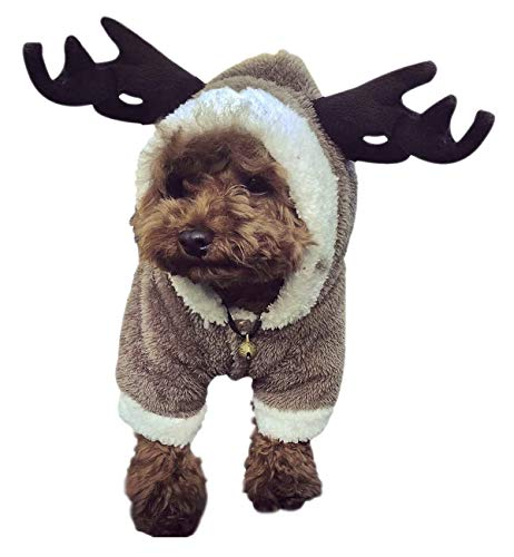 Cute Christmas Dog Costume Jacket Reindeer Snow Sweaters Soft Warm Coral Fleece Pet Hoodie Coat Winter Holiday Party Dress Up Costume Hooded Jumpsuit Pet Clothes for Small Medium Puppy Dogs M