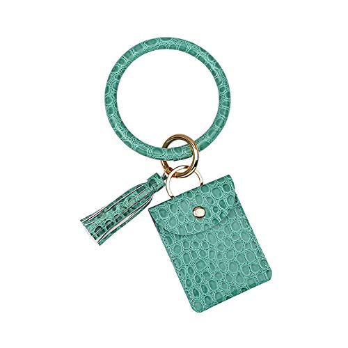 Delisouls Llavero pulsera, tarjetero bolsillo para tarjetas, bolso de piel sintética, llavero de borla para mujer