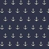 babrause ® Baumwollstoff Anker Navy Blau Webware Meterware