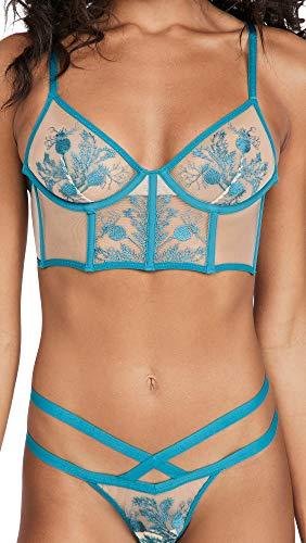 Thistle & Spire Women's Verona Bra, Chameleon, Blue, Floral, Clear, 32D