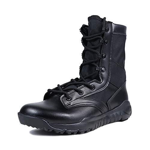 LUDEY Herren Atmungsaktive Kampfstiefel Commando Outdoor Wüste Taktische Stiefel Militärstiefel Armee Patrol Stiefel Sicherheit Polizei Schuhe Hohe qualität Leder A-CQB 46 EU