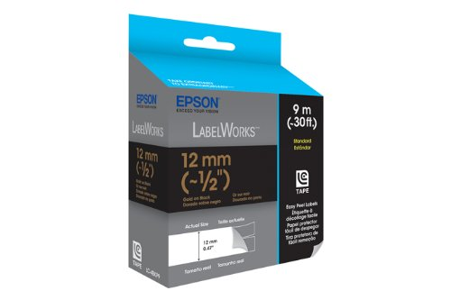 Epson LabelWorks Standard LC Tape Cartridge ~1/2-Inch Gold on Black (LC-4BKP9) Photo #2