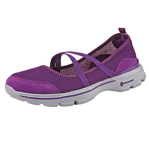 Honestyi Chaussures Femmes Running Fitness Sneakers Basses Bande élastique Creux Baskets Surface Nette Respirant Chaussures de Outdoor Dame Flats Shoes Casual Baskets Sneakers