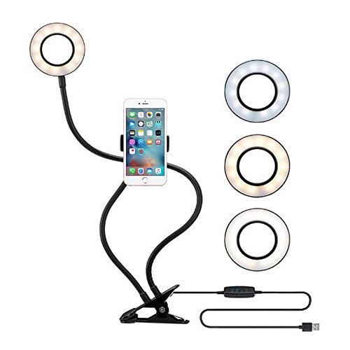 ZIKO Selfie Ring Light with Cell Phone Holder, 3 Light Mode Ring Light with Stand for Live Stream Cellphone Clip Holder Lazy Bracket with Desk Lamp LED Light for YouTube Facebook Fit Smartphone