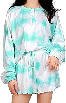 Vinmori Women's Tie Dye Printed Pajamas Set
