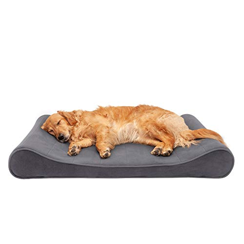 Furhaven Pet Dog Bed - Memory Foam Micro Velvet Ergonomic Luxe Lounger Cradle Mattress Contour Pet Bed with Removable Cover for Dogs and Cats, Gray, Jumbo