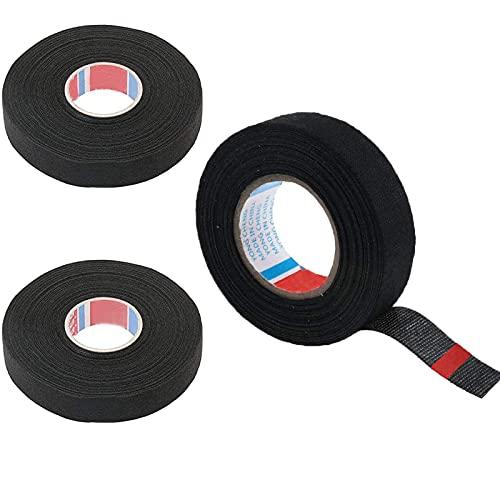 3 Rouleaux Ruban de Tissu Automobile Ruban pour Voiture en Tissu Bande Adhésif Isolant Véhicule Ruban Adhésif Isolant Noir Ruban de Câblage pour Harnais de Câblage pour Moto de Voiture,19mm x 15m