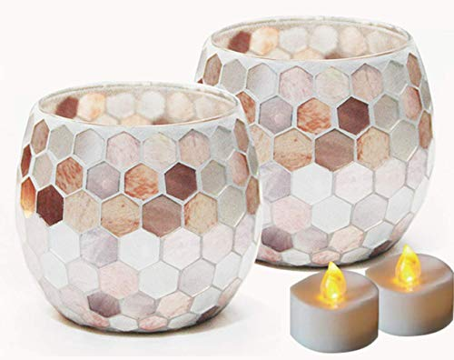 Votive Candle Holder Centerpiece, Mosaic Glass Tealight Holders for Home Decor, Table, Party Decorations, Handmade Gifts for Her, Vase for Potted Plants Bowl, Set of 2 (Shell Hive X 2)
