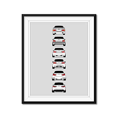 BMW M3 Generations Rear View Inspired Poster Print Wall Art of the History and Evolution of the M3 Generations (BMW Car Models: E30, E36, E46, E92, F80)