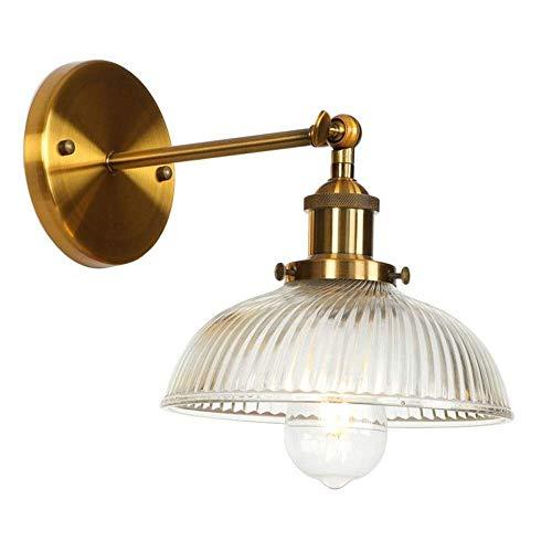 Atmosferische duurzaamheid WDHBD wandlamp antieke radio strepen potdeksel glaskleur wandlamp lampen loft slaapkamer badkamer nacht spiegel verlichting E27 110V-220V (kleur: ijzer rood) goud