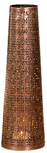 GILDE edele metalen kandelaar kandelaar windlichthouder kruis, conisch, koperkleurig 14 x 45 cm