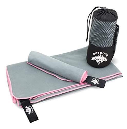 OUTDOOR FREAKZ Juego de 2 toallas de microfibra de 140 x 70 cm y 70 x 40 cm, secado rápido, muy ligeras y antibacterianas (rosa)