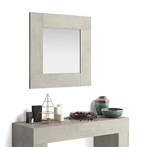 Mobili Fiver, Espejo de Pared Cuadrado, Modelo Evolution, Color Cemento, Aglomerado y Melamina/Vidrio, Made in Italy