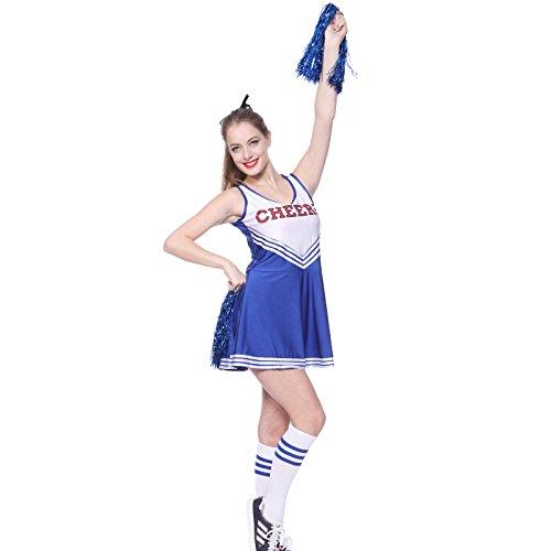 maboobie Tenue Complete Debardeur Jupe a Volant Pom-Pom Girls Cheerleader Bleu AV/ 2 Pompons S (30-32)