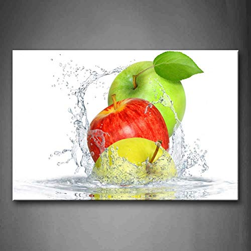 GYSS 1 Panel Wandbilder Bilder Apfel Wasser Leinwanddruck Modern Food Poster Wohnzimmer Home Office Dekor