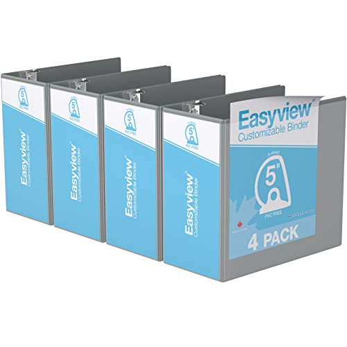 """Easyview Premium, Angle D Ring, Customizable, View Binder, 4 Pack (5"""", Grey)"""