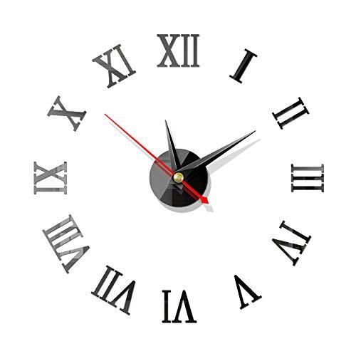 3D Relojes de Pared, BESTZY 2 Piezas DIY Reloj de Pared Espejo Pegatina DIY Frameless Gran Reloj de Pared Números Romanos para Decorar la Oficina Casa