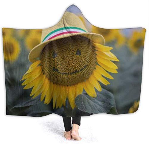 Merryfull Sunflower Smiley Hooded Decke Throw Wearable Cuddle Hoodie Robe Spa Schwarz Ultra Soft Blanket Bademantel