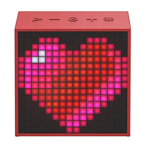 ZTKBG Bluetooth draagbare luidspreker met wekker, programmeerbaar LED-display voor pixels, kunst creatie, rood