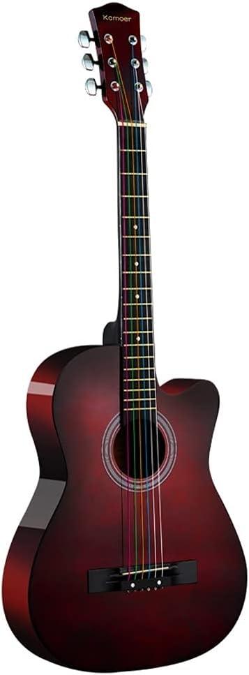 Guitarra acústica de 38 pulgadas Minimalismo para adultos Hermoso adolescente Hombre Mujer Principiantes Práctica Mano de obra fina Guitarra de madera con estuche de guitarra Correa para el hombro Jue